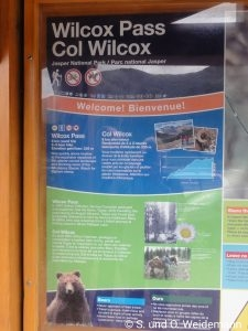 Hinweistafel zum Wilcox Pass