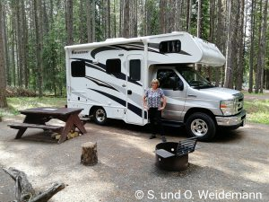 Der Stellplatz auf dem Johnston Canyon Campground